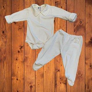 NINA MARIA conjunto body e calça crem PP 0-3 meses