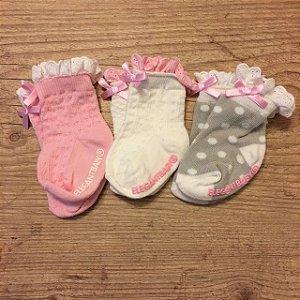 ELEGANT BRAND kit 3 meias cinza, branca, rosa 0-6 meses