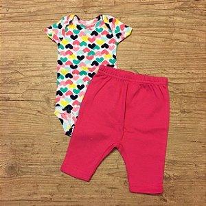 CARTERS conjunto body corações + calça rosa NB