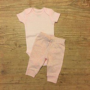 CARTERS conjunto body listras rosa + calça rosa NB