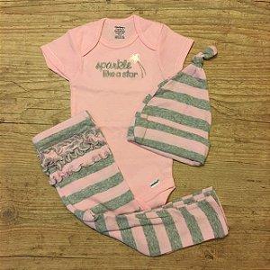 GERBER conjunto bidy rosa + calça listras + gorro listras 6-9 meses
