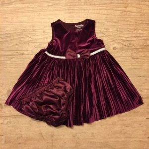 NANNETTE vestido de veludo vinho com calcinha 3-6 meses
