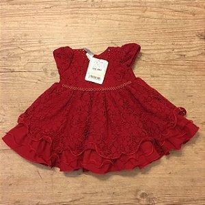 AÇÃO CHILDREN vestido de renda vermelho 6 meses