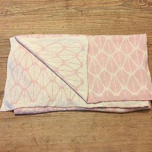 PEANUTSHELL manta de linha rosa e bege