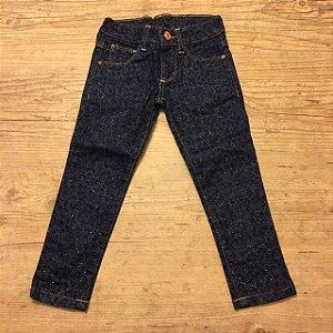 ZARA calça jeans escura tipo onça  c brilho 3-4 anos