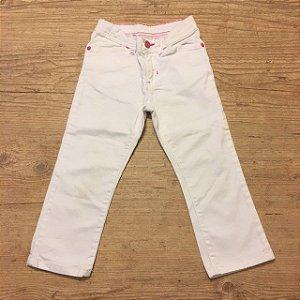 CARTERS calça branca pesponto rosa 3 anos