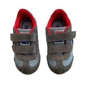 PUMA tênis cinza det vermelho velcro USA 4 BRA 19 pequenas manchas na sola