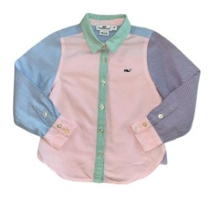 VINEYARD VINES camisa social feminina Oxford colorida 3 anos
