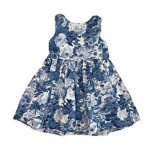 RALPH LAUREN vestido algodão florido azul 18 meses