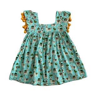 PETILE ENFANT vestido algodão verde estp lhama 2 anos