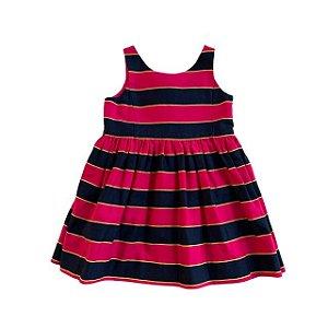 RALPH LAUREN vestido algodão listras rosa e marinho 2 anos