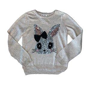 H&M casaco de linha bege coelho lantejoulas 6-8 anos