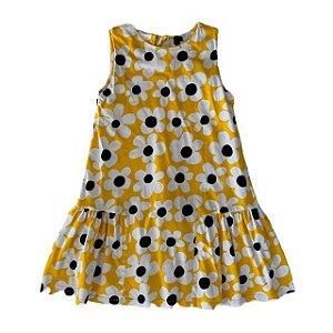 FÁBULA Vestido algodão amarelo estp margaridas 8 anos