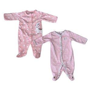 CARTERS kit macacão pezinho plush rosa NB