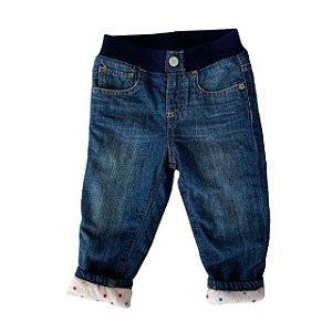 BABY GAP calça jeans elástico cintura e forro pois colorido 12-18 meses
