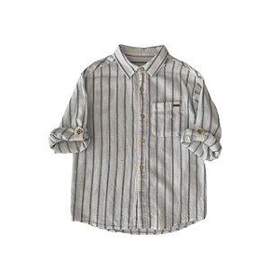 ZARA camisa social linho branca listras azuis 7 anos