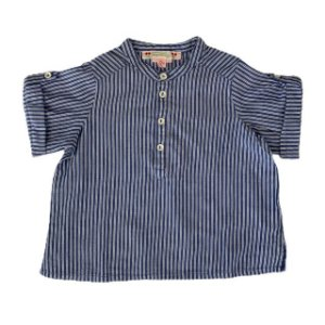 BONPOINT camisa social listras azuis gola padre 12 meses
