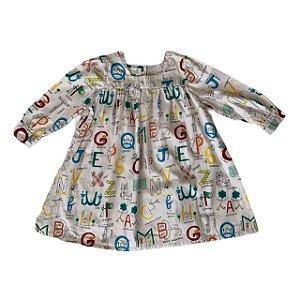 FÁBULA vestido algodão mg longa abecedário 4 anos