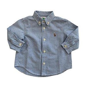 RALPH LAUREN camisa social Oxford azul 6 meses