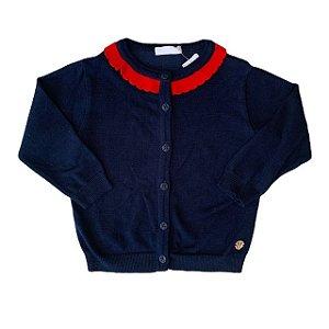 PAOLA DA VINCI casaco de linha marinho gola vermelha 2 anos