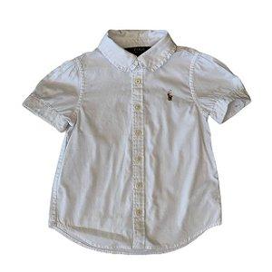 RALPH LAUREN camisa social branca gola babados 3 anos