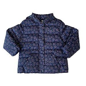 ZARA casaco com capuz acolchoado marinho estrelas rosa 18-24 meses