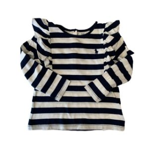 RALPH LAUREN camiseta listras marinho c babados 18 meses