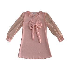 BLUE KIDS vestido rosa tule manga com pérolas 8 anos NOVO