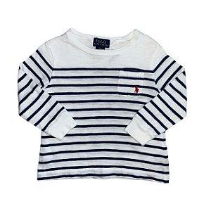 RALPH LAUREN camiseta mg longa branca listras azuis 12 meses