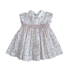 UPIÁ vestido casinha de abelha branco florzinha rosa P 3 meses