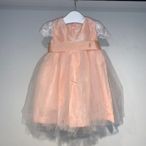 UPIÁ vestido salmão tule c renda 3 meses
