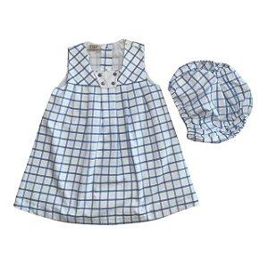 Vestido algodão branco quadradinho azul 3-6 meses  NOVO