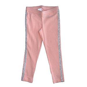 CAT & JACK Legging rosa faixa prata lateral 4-5 anos
