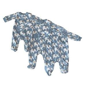CARTERS kit 3 macacão soft pezinho azul elefantes NB 3 meses 6 meses