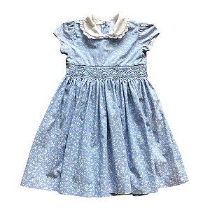 TROIS PETIT vestido casinha de abelha azul florzinha branca 2 anos