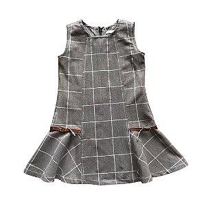 UPIÁ vestido xadrez cinza fivela couro 2 anos