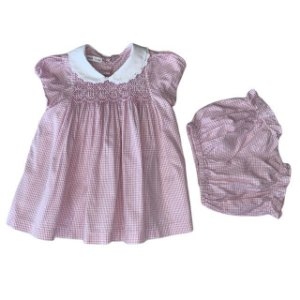 PINNI vestido c calcinha casinha de abelha xadrez rosa 12-18 meses