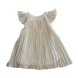 BABY GAP vestido plissado offwhite 6-12 meses