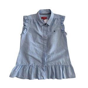 LION OF PORCHES blusa de linho azul claro com babados na barra 7-8 anos