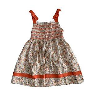 EPK vestido florido alça fita laranja 6 anos