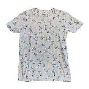 ABERCROMBIE camiseta branca folhas azuis S 13-14 anos