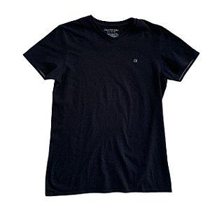 CALVIN KLEIN camiseta preta gola V 14-16 anos