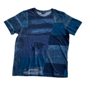 DIESEL camiseta retalhos azul L 13-14 anos