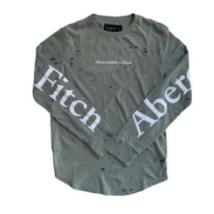 ABERCROMBIE camiseta verde manchas mg longa XS 12 anos