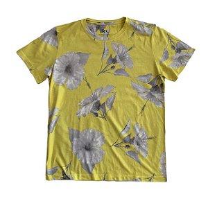 RESERVA MINI camiseta amarela flores 12 anos