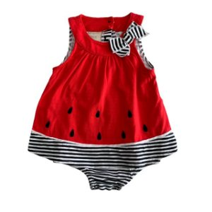 FIRST IMPRESSION vestido body melancia 3-6 meses