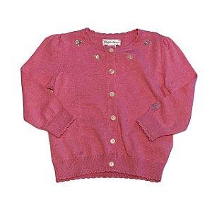 RALPH LAUREN casaco de linha rosa bordado 18 meses