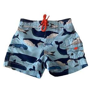 CARTERS short praia azul baleias 6-9 meses