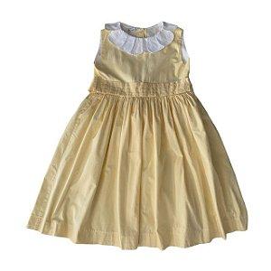 UPIÁ vestido algodão amarelo gola branca pétalas 6 anos
