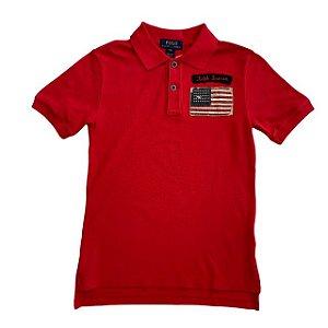 RALPH LAUREN camisa polo vermelha bandeira USA 8 anos